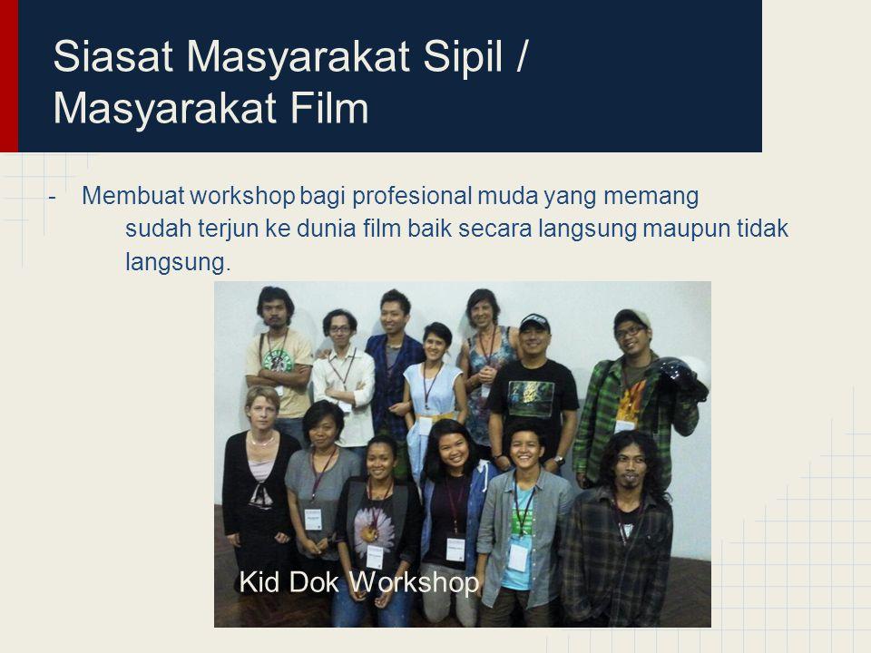 Siasat Masyarakat Sipil / Masyarakat Film -Membuat workshop bagi profesional muda yang memang sudah terjun ke dunia film baik secara langsung maupun tidak langsung.