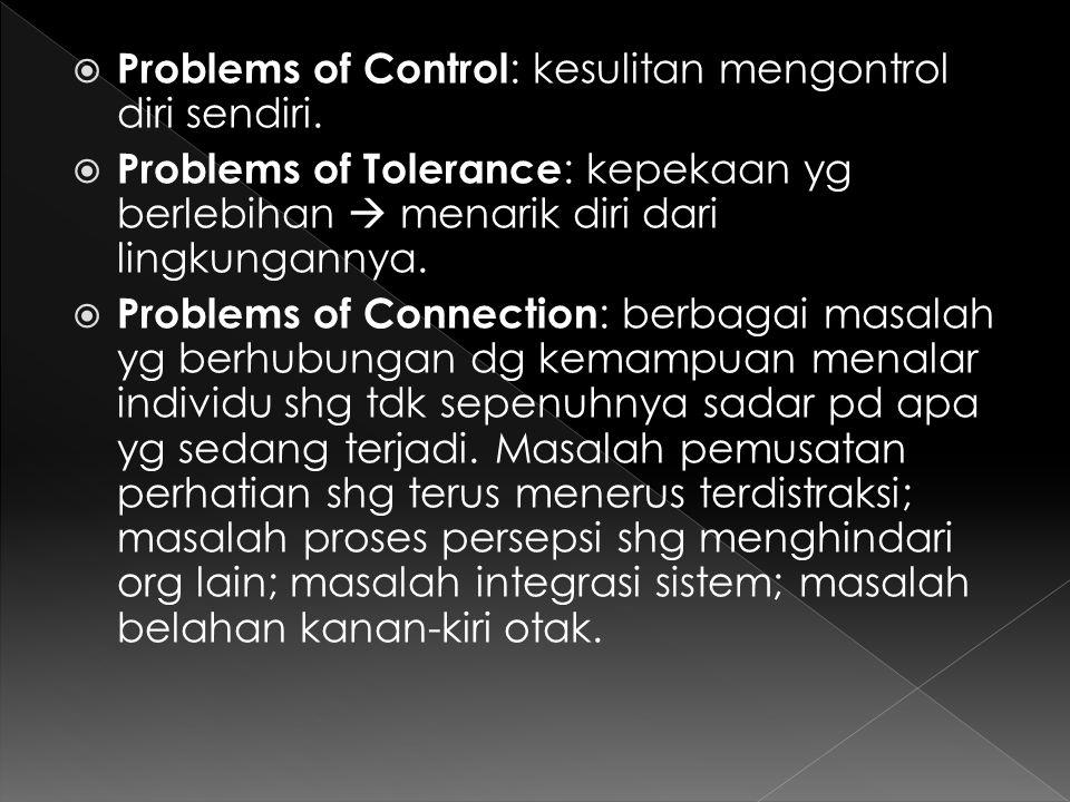  Problems of Control : kesulitan mengontrol diri sendiri.  Problems of Tolerance : kepekaan yg berlebihan  menarik diri dari lingkungannya.  Probl