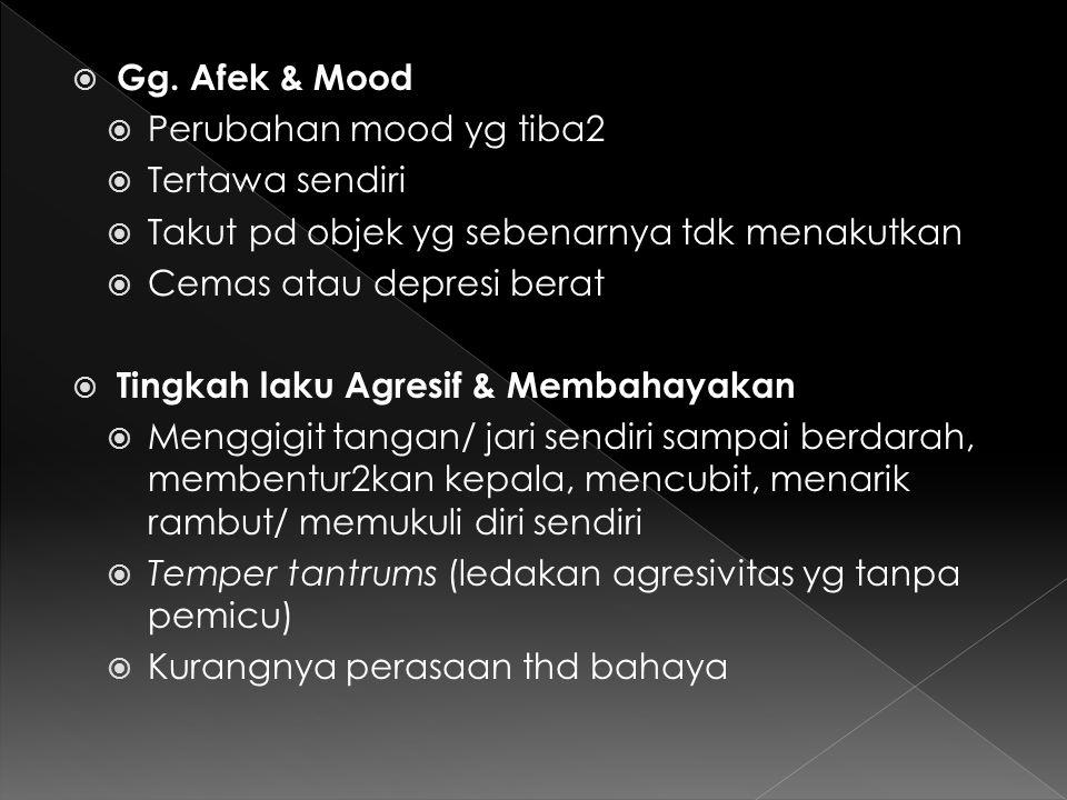  Gg. Afek & Mood  Perubahan mood yg tiba2  Tertawa sendiri  Takut pd objek yg sebenarnya tdk menakutkan  Cemas atau depresi berat  Tingkah laku