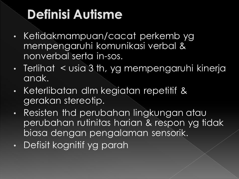 1.Gangguan Interaksi Sosial a. Bayi/ balita tdk berespon normal ketika diangkat/ dipeluk b.