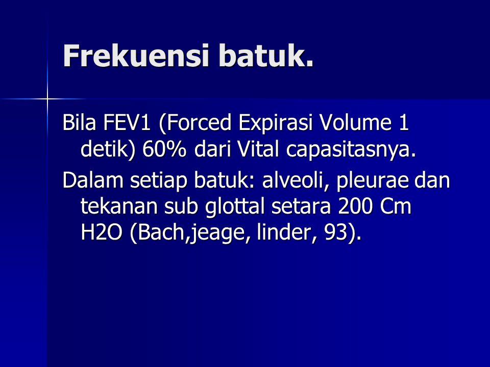 Frekuensi batuk. Bila FEV1 (Forced Expirasi Volume 1 detik) 60% dari Vital capasitasnya. Dalam setiap batuk: alveoli, pleurae dan tekanan sub glottal