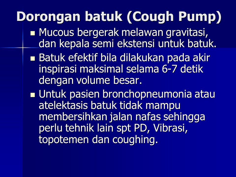 Dorongan batuk (Cough Pump) Mucous bergerak melawan gravitasi, dan kepala semi ekstensi untuk batuk. Mucous bergerak melawan gravitasi, dan kepala sem