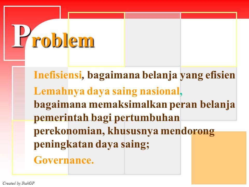 Created by IkakGP Inefisiensi, bagaimana belanja yang efisien Lemahnya daya saing nasional, bagaimana memaksimalkan peran belanja pemerintah bagi pertumbuhan perekonomian, khususnya mendorong peningkatan daya saing; Governance.