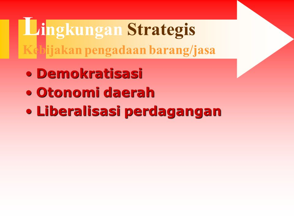 L ingkungan Strategis Kebijakan pengadaan barang/jasa DemokratisasiDemokratisasi Otonomi daerahOtonomi daerah Liberalisasi perdaganganLiberalisasi perdagangan