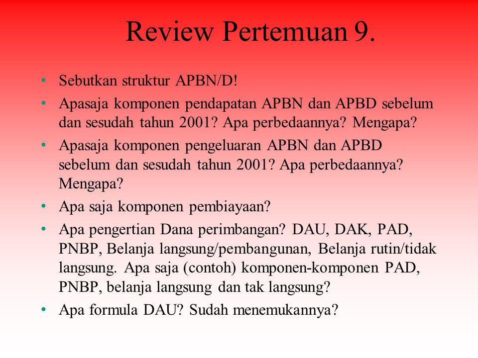 Review Pertemuan 9. Sebutkan struktur APBN/D! Apasaja komponen pendapatan APBN dan APBD sebelum dan sesudah tahun 2001? Apa perbedaannya? Mengapa? Apa