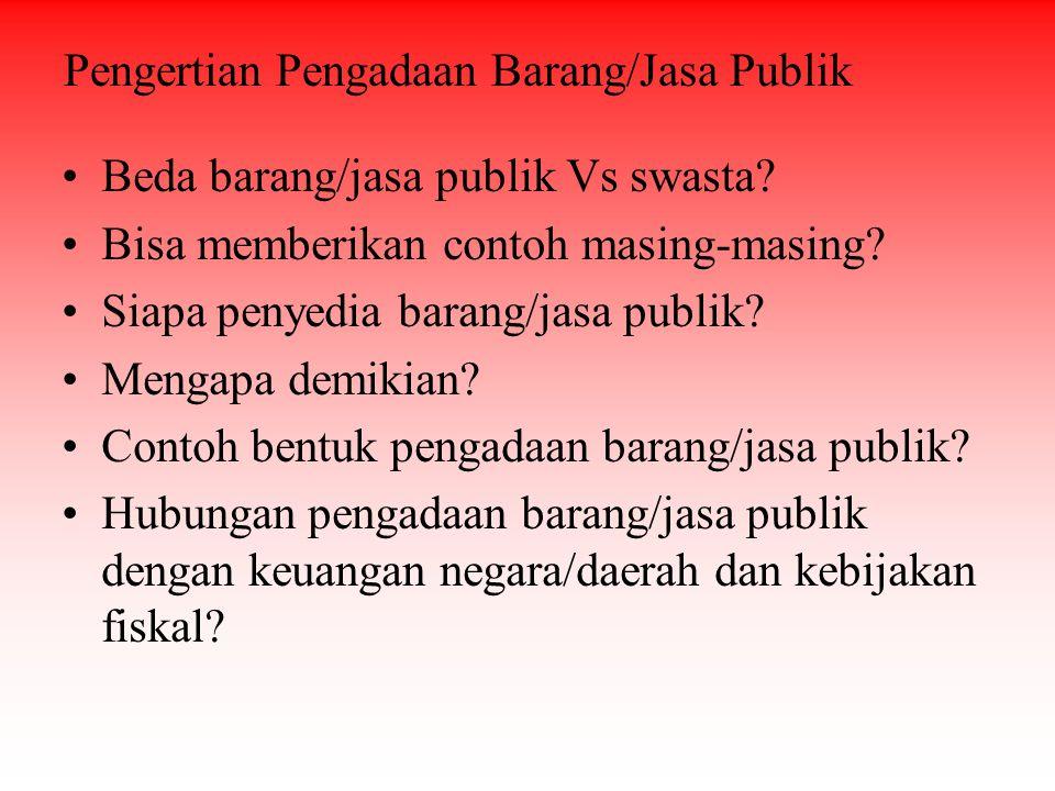 Beda barang/jasa publik Vs swasta? Bisa memberikan contoh masing-masing? Siapa penyedia barang/jasa publik? Mengapa demikian? Contoh bentuk pengadaan