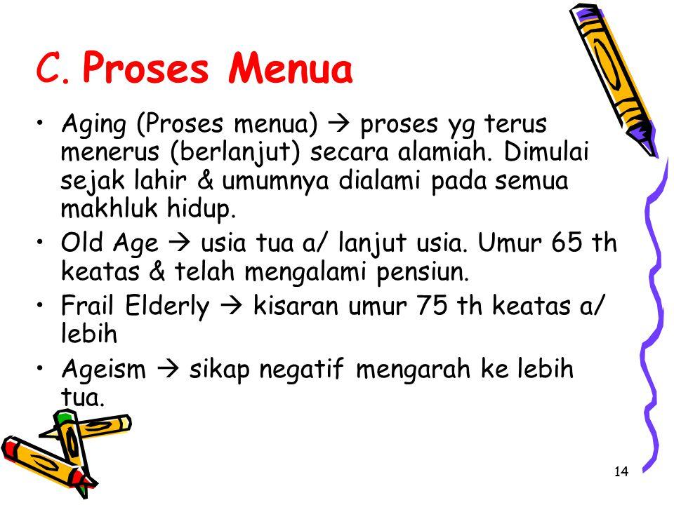14 C. Proses Menua Aging (Proses menua)  proses yg terus menerus (berlanjut) secara alamiah. Dimulai sejak lahir & umumnya dialami pada semua makhluk