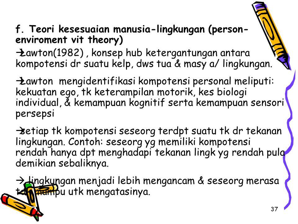 37 f. Teori kesesuaian manusia-lingkungan (person- enviroment vit theory)  Lawton(1982), konsep hub ketergantungan antara kompotensi dr suatu kelp, d