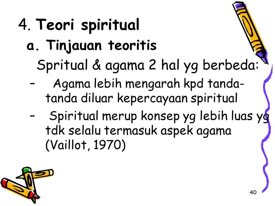 40 4. Teori spiritual a. Tinjauan teoritis Spritual & agama 2 hal yg berbeda: – Agama lebih mengarah kpd tanda- tanda diluar kepercayaan spiritual – S