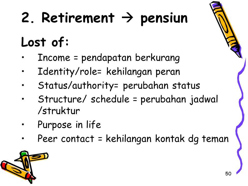 50 2. Retirement  pensiun Lost of: Income = pendapatan berkurang Identity/role= kehilangan peran Status/authority= perubahan status Structure/ schedu