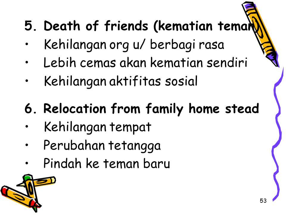 53 5.Death of friends (kematian teman) Kehilangan org u/ berbagi rasa Lebih cemas akan kematian sendiri Kehilangan aktifitas sosial 6.Relocation from