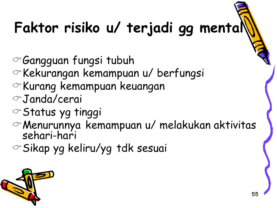 55 Faktor risiko u/ terjadi gg mental  Gangguan fungsi tubuh  Kekurangan kemampuan u/ berfungsi  Kurang kemampuan keuangan  Janda/cerai  Status y