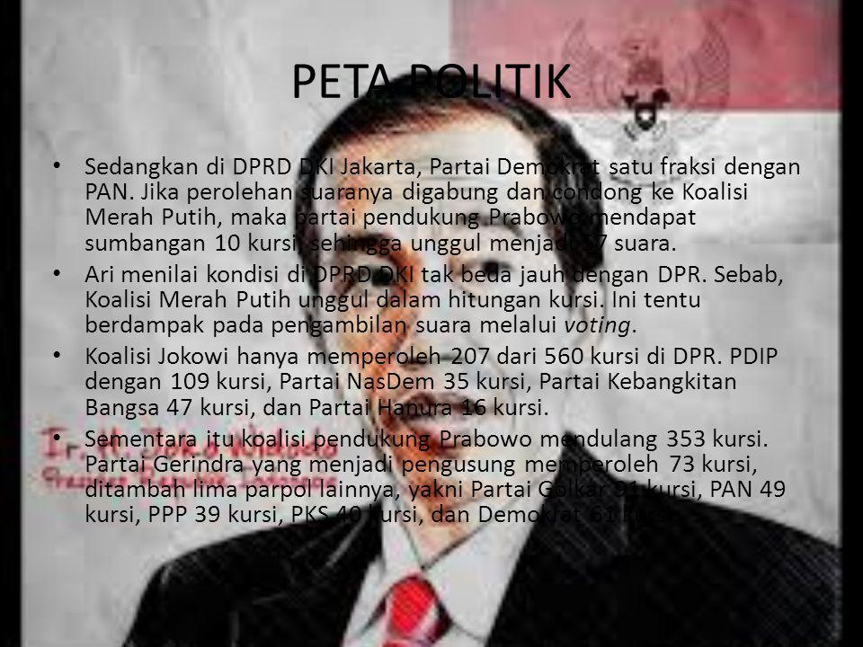 PETA POLITIK Sedangkan di DPRD DKI Jakarta, Partai Demokrat satu fraksi dengan PAN. Jika perolehan suaranya digabung dan condong ke Koalisi Merah Puti