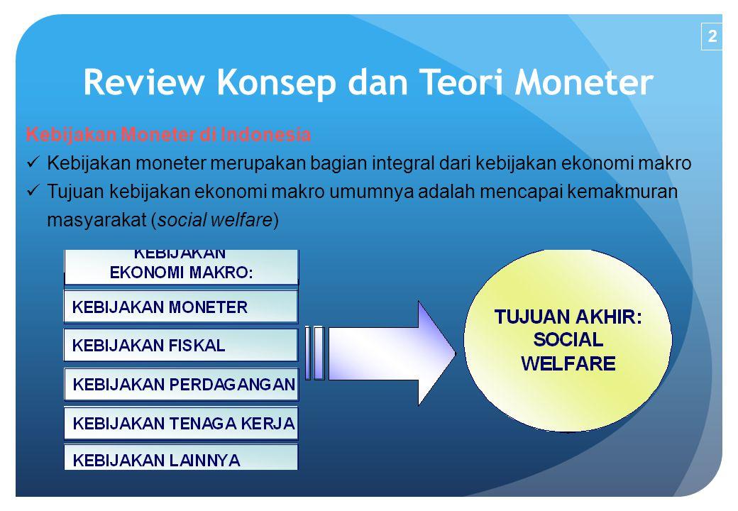 Review Konsep dan Teori Moneter Kebijakan Moneter di Indonesia Kebijakan moneter merupakan bagian integral dari kebijakan ekonomi makro Tujuan kebijak