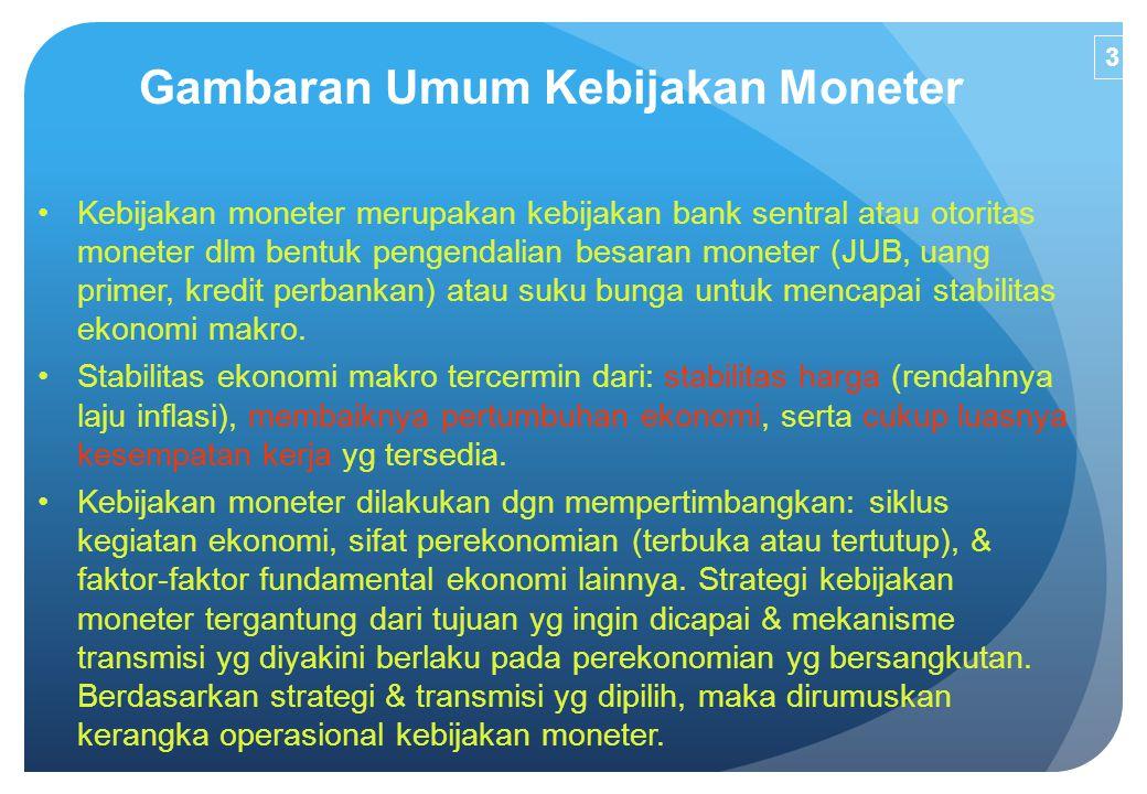 Gambaran Umum Kebijakan Moneter Kebijakan moneter merupakan kebijakan bank sentral atau otoritas moneter dlm bentuk pengendalian besaran moneter (JUB,