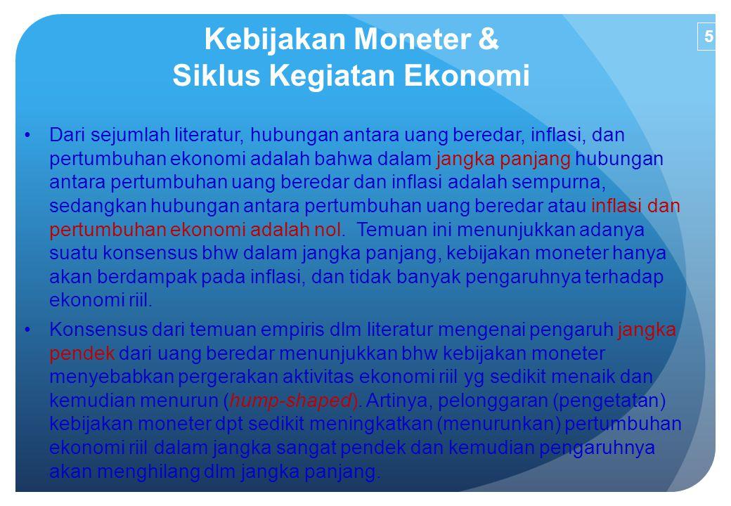 Kebijakan Moneter & Siklus Kegiatan Ekonomi Dari sejumlah literatur, hubungan antara uang beredar, inflasi, dan pertumbuhan ekonomi adalah bahwa dalam