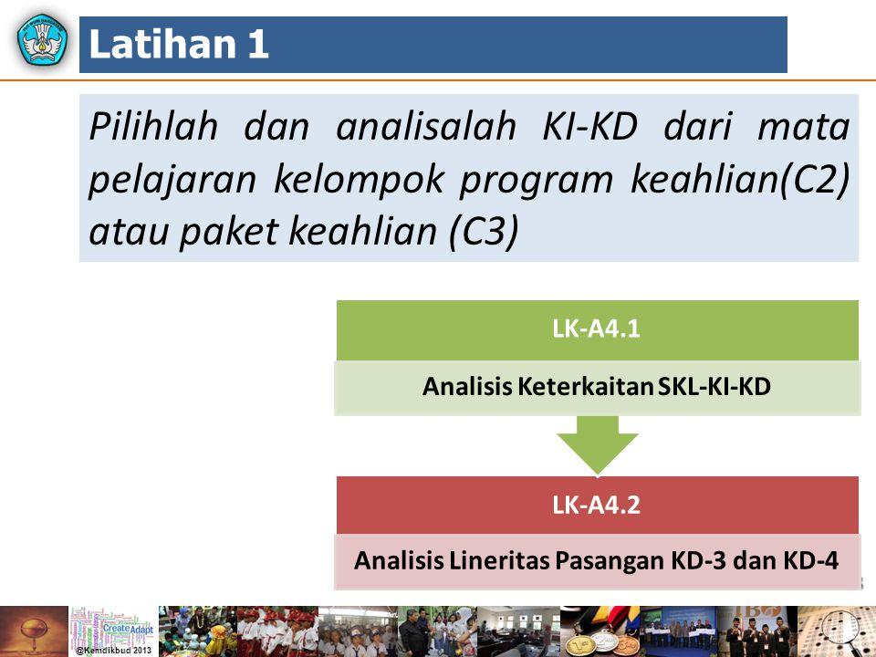 23 Pilihlah dan analisalah KI-KD dari mata pelajaran kelompok program keahlian(C2) atau paket keahlian (C3) Latihan 1 LK-A4.2 Analisis Lineritas Pasan
