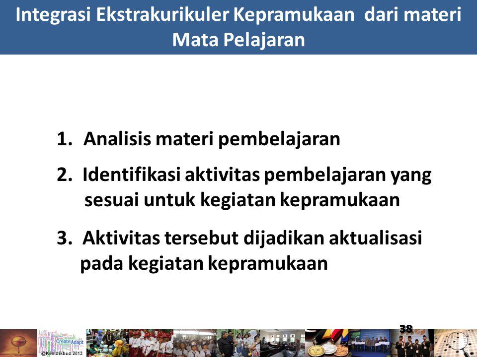 38 1.Analisis materi pembelajaran 2. Identifikasi aktivitas pembelajaran yang sesuai untuk kegiatan kepramukaan Integrasi Ekstrakurikuler Kepramukaan