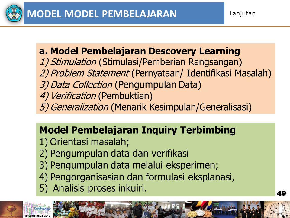 49 a.Model Pembelajaran Descovery Learning 1)Stimulation (Stimulasi/Pemberian Rangsangan) 2)Problem Statement (Pernyataan/ Identifikasi Masalah) 3)Dat