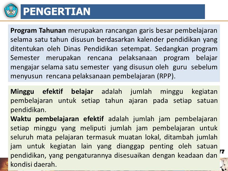 77 Program Tahunan merupakan rancangan garis besar pembelajaran selama satu tahun disusun berdasarkan kalender pendidikan yang ditentukan oleh Dinas P
