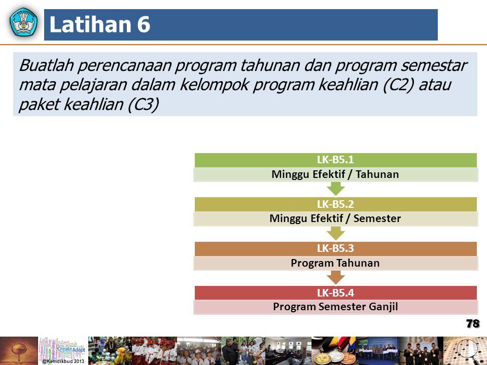 78 Buatlah perencanaan program tahunan dan program semestar mata pelajaran dalam kelompok program keahlian (C2) atau paket keahlian (C3) Latihan 6 LK-