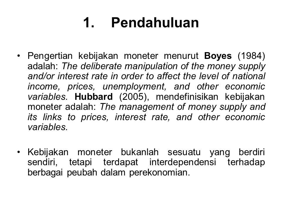 1. Pendahuluan Pengertian kebijakan moneter menurut Boyes (1984) adalah: The deliberate manipulation of the money supply and/or interest rate in order