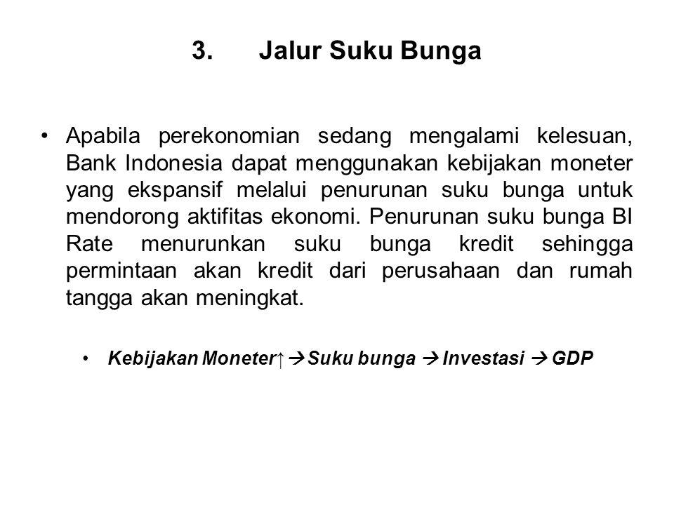 3. Jalur Suku Bunga Apabila perekonomian sedang mengalami kelesuan, Bank Indonesia dapat menggunakan kebijakan moneter yang ekspansif melalui penuruna