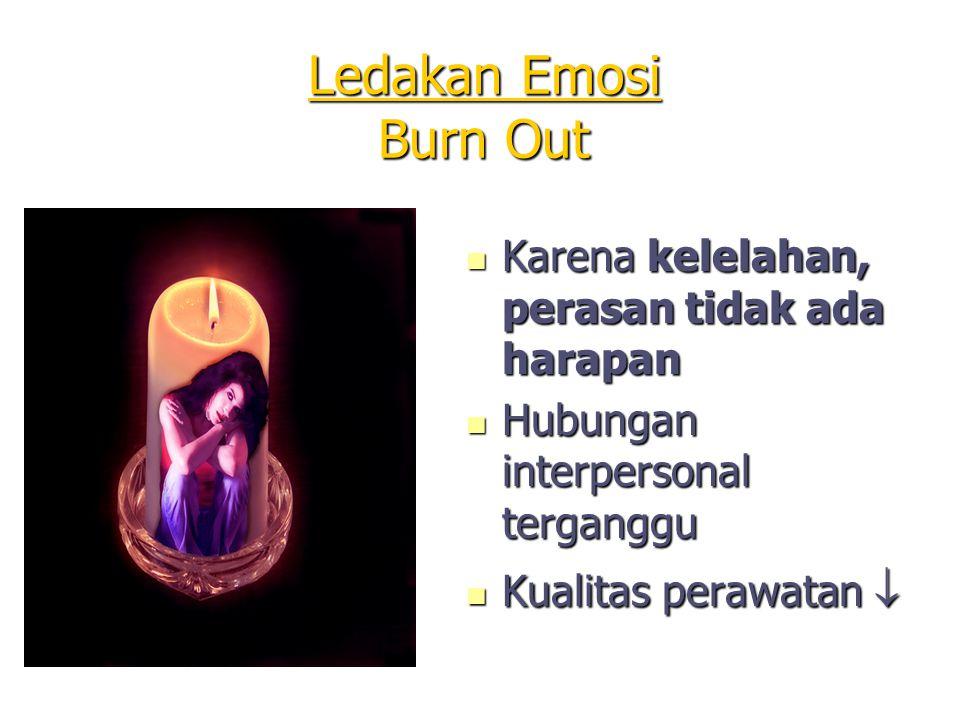 Ledakan Emosi Burn Out Karena kelelahan, perasan tidak ada harapan Karena kelelahan, perasan tidak ada harapan Hubungan interpersonal terganggu Hubung