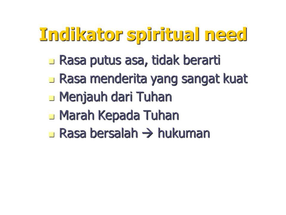Indikator spiritual need Rasa putus asa, tidak berarti Rasa putus asa, tidak berarti Rasa menderita yang sangat kuat Rasa menderita yang sangat kuat M