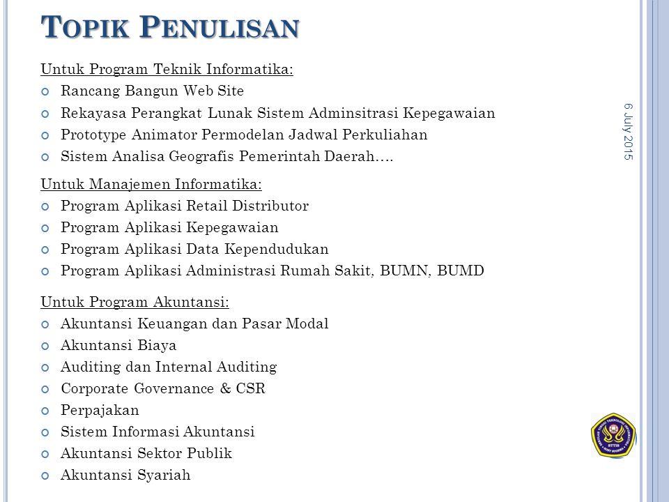 T OPIK P ENULISAN Untuk Program Teknik Informatika: Rancang Bangun Web Site Rekayasa Perangkat Lunak Sistem Adminsitrasi Kepegawaian Prototype Animato