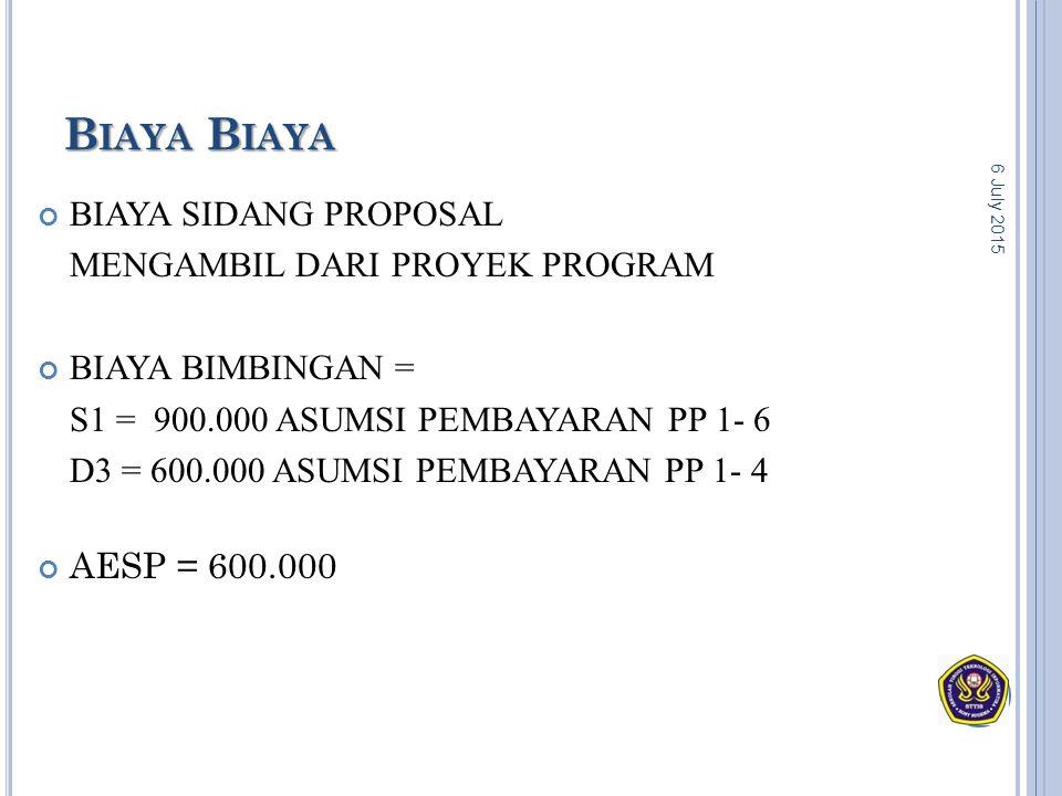 BIAYA SIDANG PROPOSAL MENGAMBIL DARI PROYEK PROGRAM BIAYA BIMBINGAN = S1 = 900.000 ASUMSI PEMBAYARAN PP 1- 6 D3 = 600.000 ASUMSI PEMBAYARAN PP 1- 4 AE