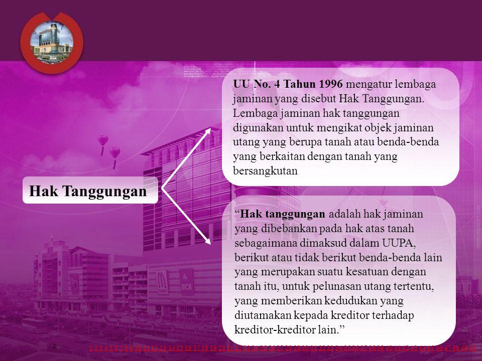4 UU No.4 Tahun 1996 mengatur lembaga jaminan yang disebut Hak Tanggungan.