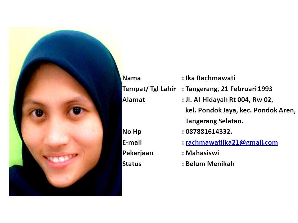 Nama : Khaerul Lutfi Tempat/ Tgl Lahir : Bogor, 13 September 1993 Alamat : Jl. PT. Sudamanik, Lebak Wangi, Kp. Kedaung, Ds. Rengasjajar, Kec. Cigudeg,