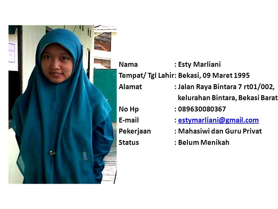 Nama: Muhammad Kholid Tempat/ Tgl Lahir: Jakarta, 24 Mei 1994 Alamat: Perum. Kenangan Indah Jl. Kampung Sawah Rt 05/02 No. 8A Kel. Jati Murni Kec. Jat