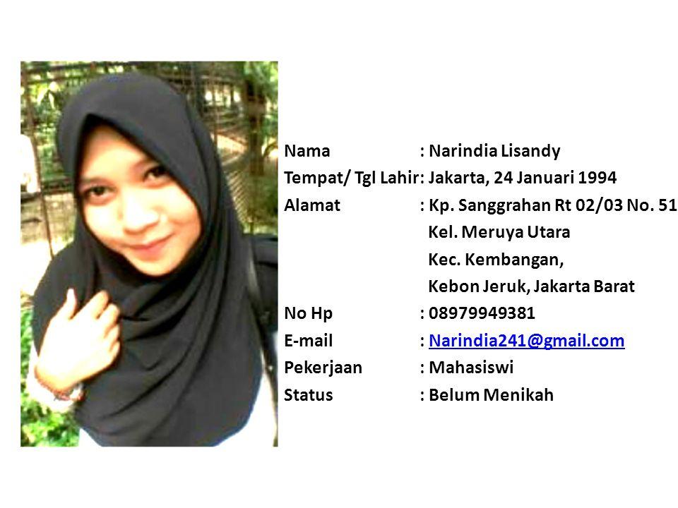 Nama: Esty Marliani Tempat/ Tgl Lahir: Bekasi, 09 Maret 1995 Alamat: Jalan Raya Bintara 7 rt01/002, kelurahan Bintara, Bekasi Barat No Hp: 08963008036