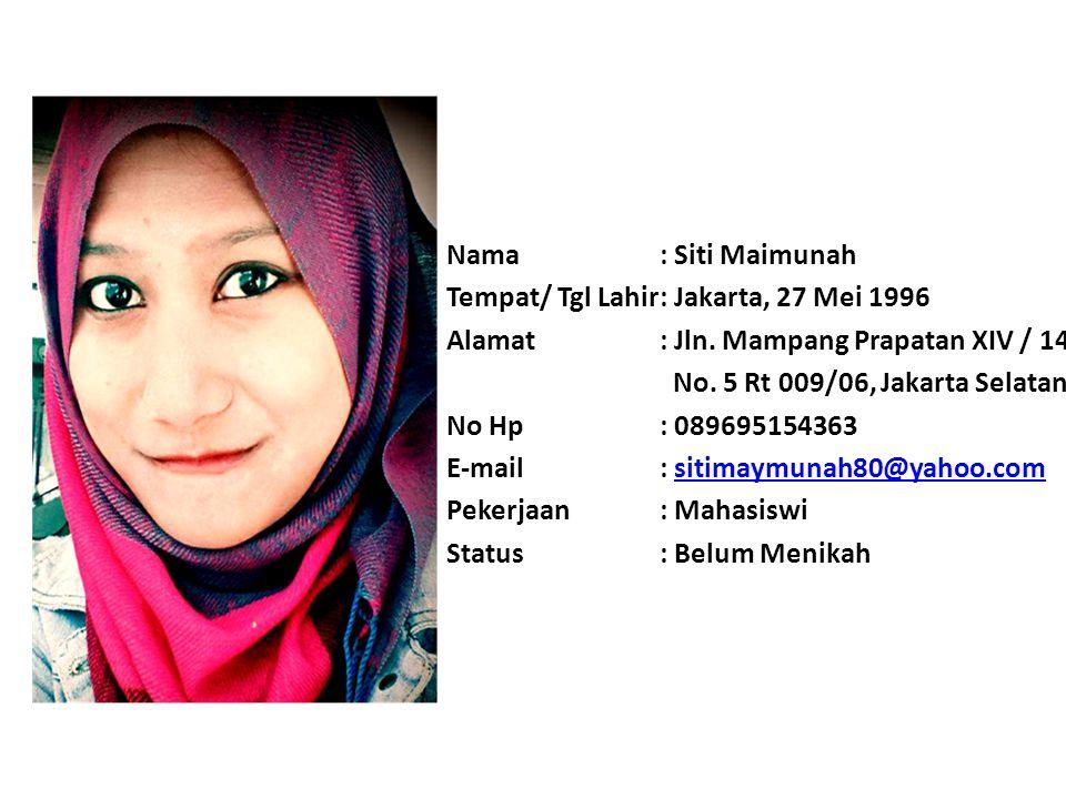 Nama: Jilli Annisa Fitra Tempat/ Tgl Lahir: Bekasi, 19 Mei 1995 Alamat: Perumahan Margahayu Jaya Blok.