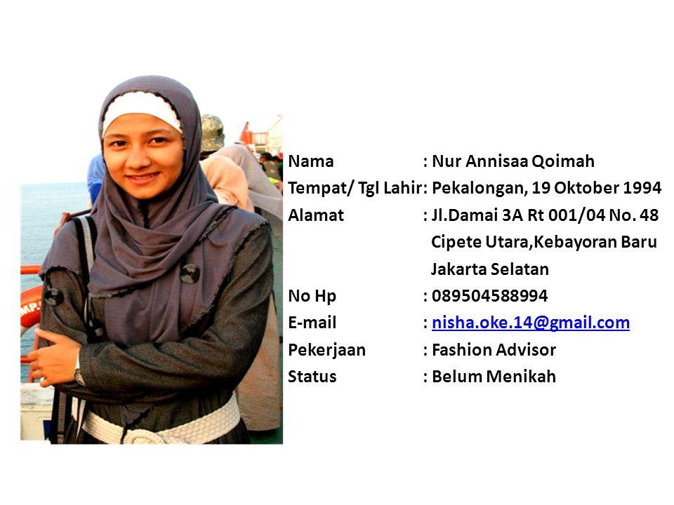 Nama: Dina Yuliana Tempat/ Tgl Lahir: Bogor, 10 Juli 1993 Alamat: Jln.