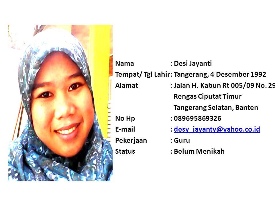 Nama: Muhammad Baim Imron Tempat/ Tgl Lahir: Jakarta, 2 Juni 1991 Alamat: Jl.Wuluh 4 Rt 07/Rw 07 No.14 Kota Bambu Utara, Palmerah, Jakarta Barat. No H