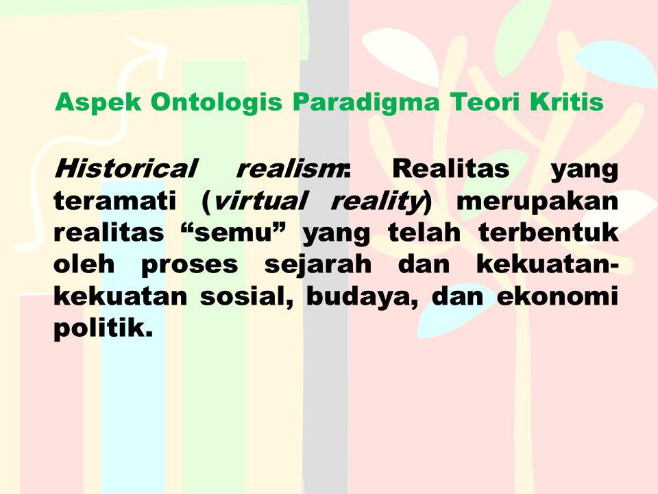 """Aspek Ontologis Paradigma Teori Kritis Historical realism: Realitas yang teramati (virtual reality) merupakan realitas """"semu"""" yang telah terbentuk ole"""