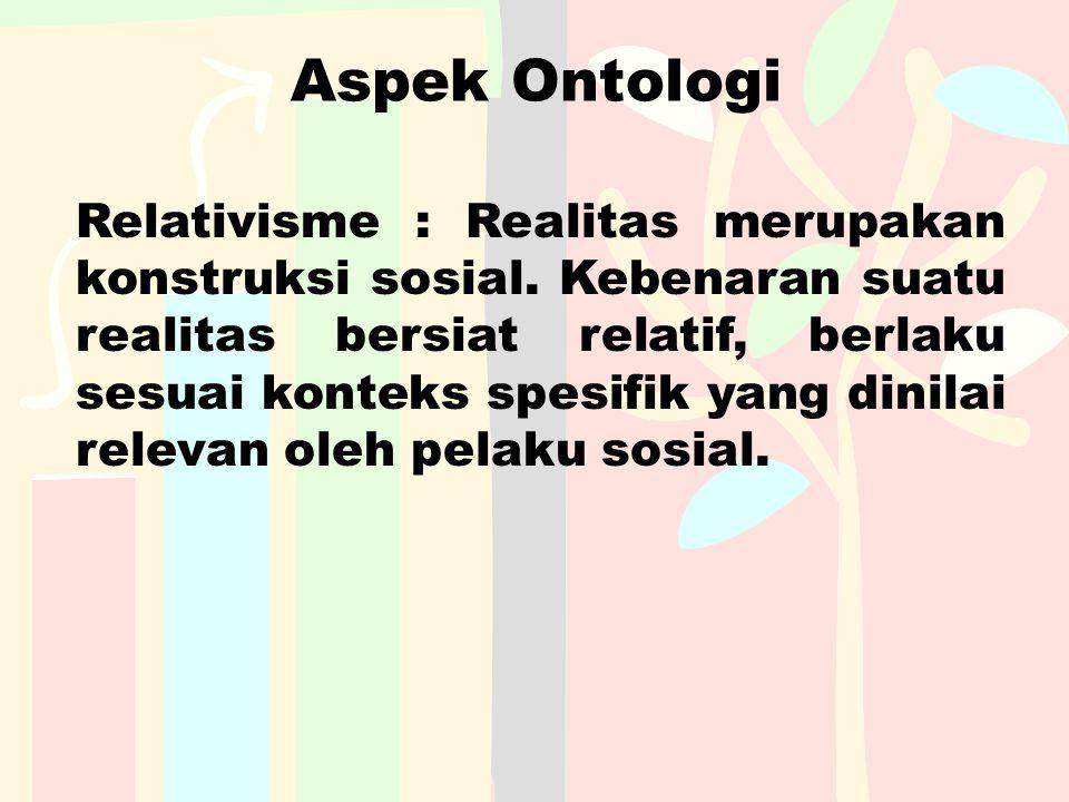 Aspek Ontologi Relativisme : Realitas merupakan konstruksi sosial. Kebenaran suatu realitas bersiat relatif, berlaku sesuai konteks spesifik yang dini