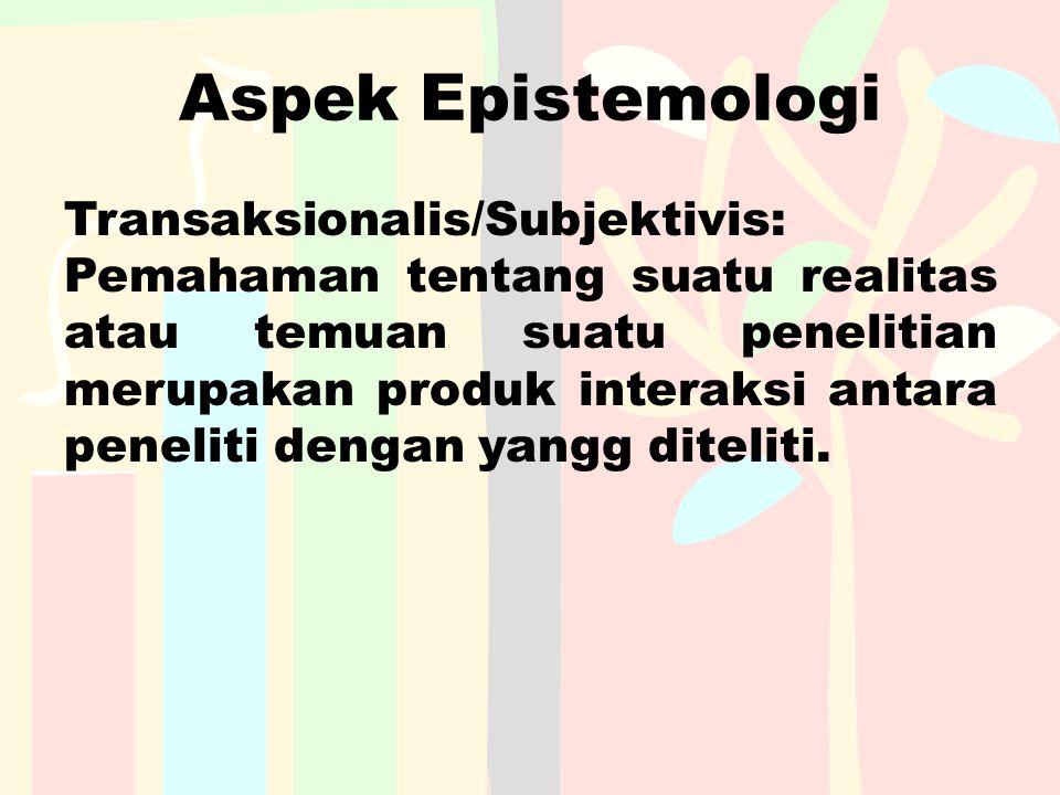 Aspek Epistemologi Transaksionalis/Subjektivis: Pemahaman tentang suatu realitas atau temuan suatu penelitian merupakan produk interaksi antara peneli