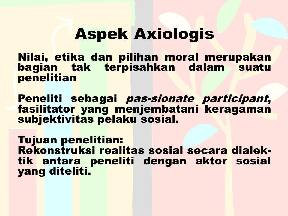 Aspek Axiologis Nilai, etika dan pilihan moral merupakan bagian tak terpisahkan dalam suatu penelitian Peneliti sebagai pas-sionate participant, fasil