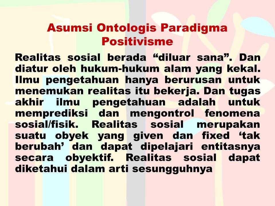 """Asumsi Ontologis Paradigma Positivisme Realitas sosial berada """"diluar sana"""". Dan diatur oleh hukum-hukum alam yang kekal. Ilmu pengetahuan hanya berur"""