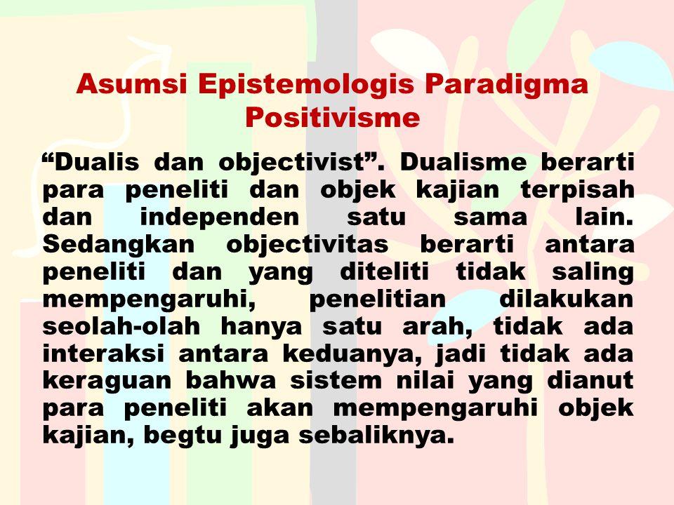 """Asumsi Epistemologis Paradigma Positivisme """"Dualis dan objectivist"""". Dualisme berarti para peneliti dan objek kajian terpisah dan independen satu sama"""