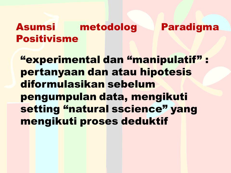 """Asumsi metodolog Paradigma Positivisme """"experimental dan """"manipulatif"""" : pertanyaan dan atau hipotesis diformulasikan sebelum pengumpulan data, mengik"""