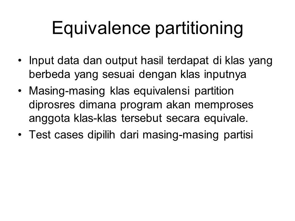 Equivalence partitioning Input data dan output hasil terdapat di klas yang berbeda yang sesuai dengan klas inputnya Masing-masing klas equivalensi par