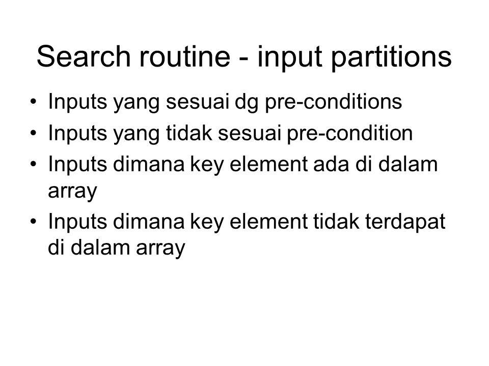 Inputs yang sesuai dg pre-conditions Inputs yang tidak sesuai pre-condition Inputs dimana key element ada di dalam array Inputs dimana key element tid