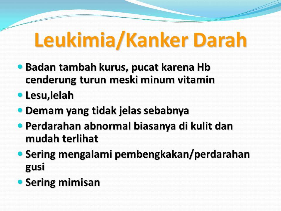 Leukimia/Kanker Darah Badan tambah kurus, pucat karena Hb cenderung turun meski minum vitamin Badan tambah kurus, pucat karena Hb cenderung turun mesk