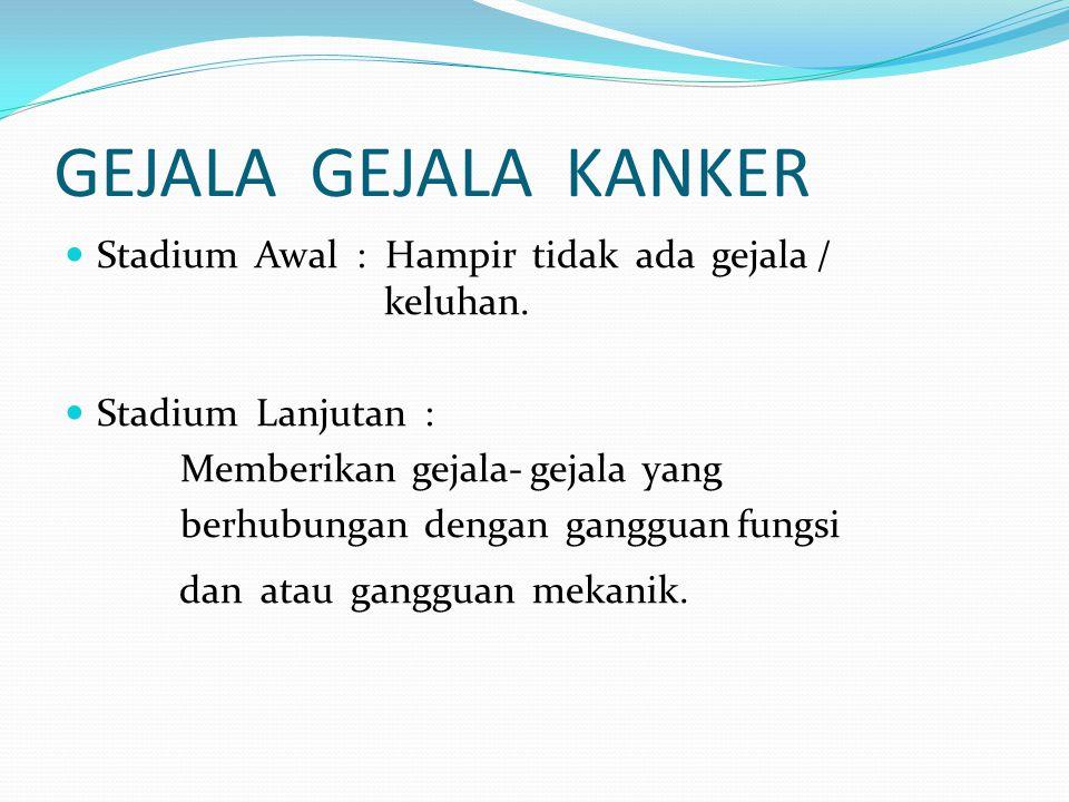 Kanker Rahim Menstruasi tidak teratur & sakit, ( Pendarahan diluar menstruasi, Menstruasi tdk tuntas / Flek2) Menstruasi tidak teratur & sakit, ( Pendarahan diluar menstruasi, Menstruasi tdk tuntas / Flek2) Mengalami pendarahan setelah masa mati haid/ menopouse ( selang lebih dari 3 tahun ) Mengalami pendarahan setelah masa mati haid/ menopouse ( selang lebih dari 3 tahun ) Mengalami keputihan yang tak kunjung sembuh yang bersifat patologis Mengalami keputihan yang tak kunjung sembuh yang bersifat patologis Bila senggama, akan terasa perih di sekitar rahim kadang keluar bercak darah Bila senggama, akan terasa perih di sekitar rahim kadang keluar bercak darah