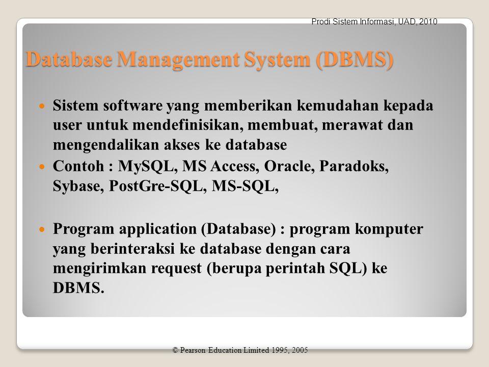 Prodi Sistem Informasi, UAD, 2010 Database Management System (DBMS) Sistem software yang memberikan kemudahan kepada user untuk mendefinisikan, membuat, merawat dan mengendalikan akses ke database Contoh : MySQL, MS Access, Oracle, Paradoks, Sybase, PostGre-SQL, MS-SQL, Program application (Database) : program komputer yang berinteraksi ke database dengan cara mengirimkan request (berupa perintah SQL) ke DBMS.
